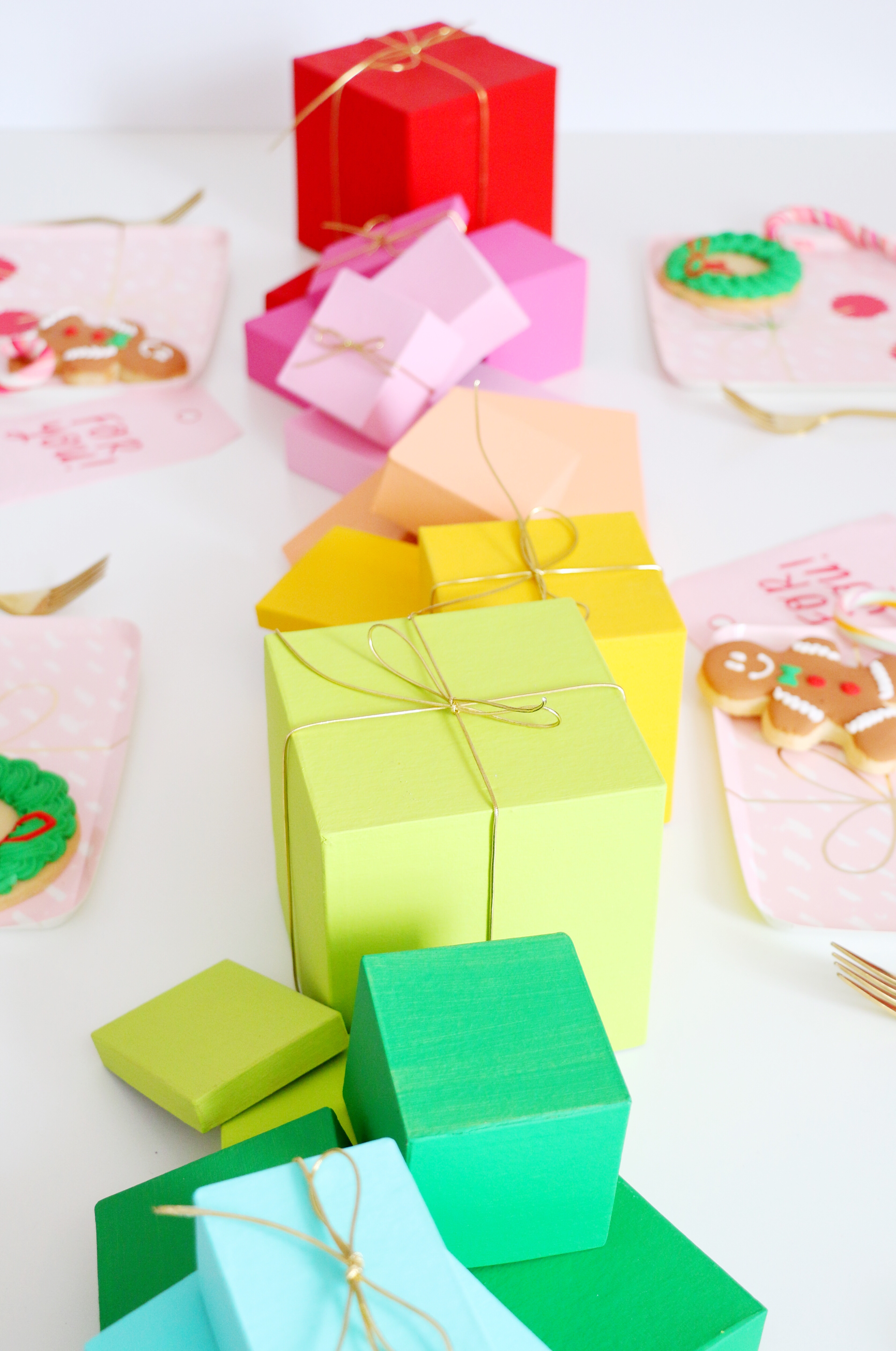 DIY rainbow gift box table runner for Christmas