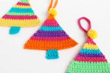 DIY rainbow crochet Christmas tree ornaments
