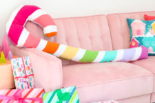 DIY rainbow candy cane Christmas pillow