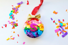 DIY rainbow confetti Christmas ornament