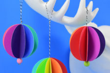 DIY 3D paper Christmas ornaments in rainbow colors