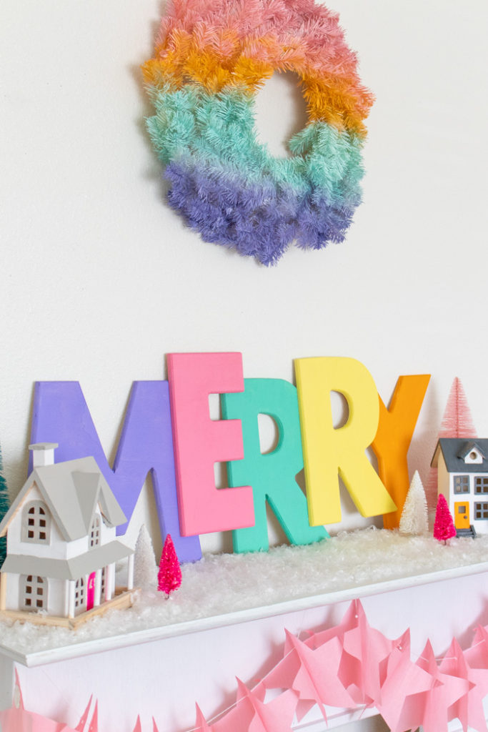 DIY colorful Christmas decoration of letters (via www.clubcrafted.com)