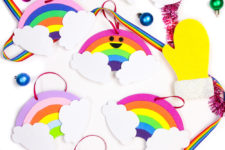 DIY super colorful rainbow Christmas ornaments