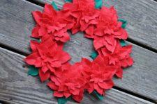 DIY bright floral felt Christmas wreath