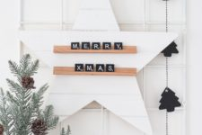 DIY Christmas star message board with scrabble letters