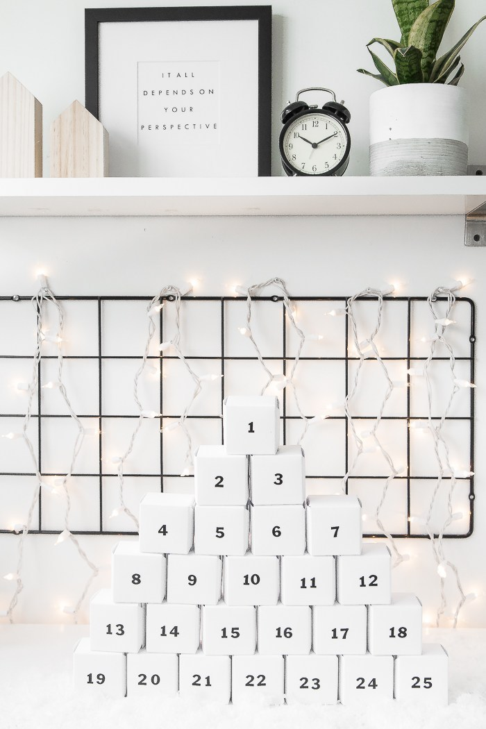 DIY black and white minimalist advent calendar