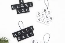 DIY minimalist scrabble Christmas ornaments