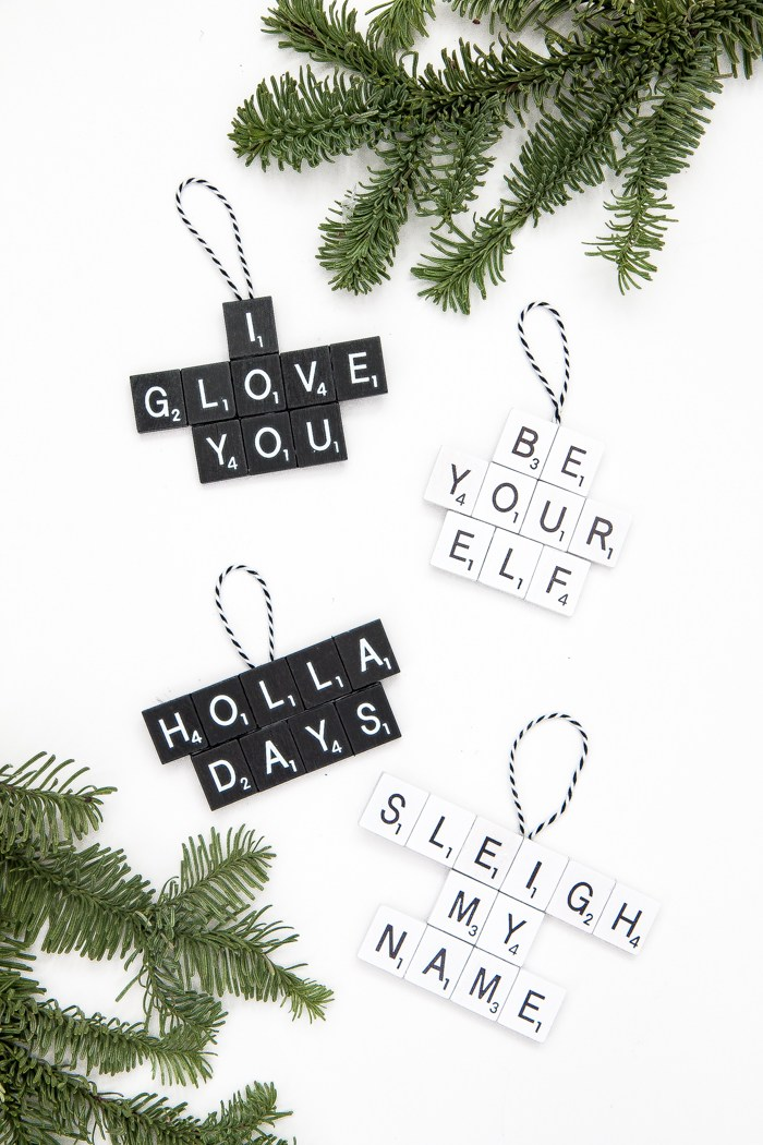 DIY minimalist scrabble Christmas ornaments (via www.thebeautydojo.com)