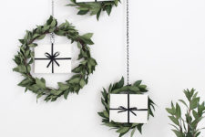 DIY myrtle Christmas wreaths with gift boxes inside