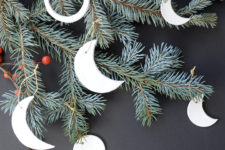 DIY moon phase clay Christmas ornaments