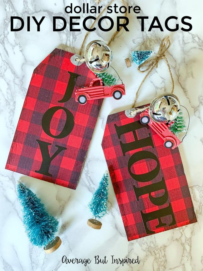 DIY oversized plaid tags with ornaments for front door decor (via averageinspired.com)