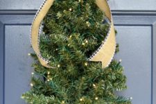 DIY Christmas tree front door decoration with lights