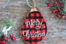 03 a cute painted plaid Christmas ornament with calligraphy is a timeless idea for a rustic feel