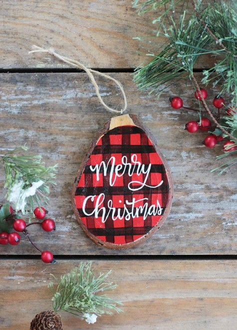 a cute painted plaid Christmas ornament with calligraphy is a timeless idea for a rustic feel