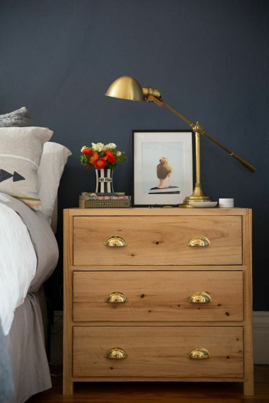 a simple and chic IKEA Tarva dresser stained light and with vintage metal handles will fit many spaces