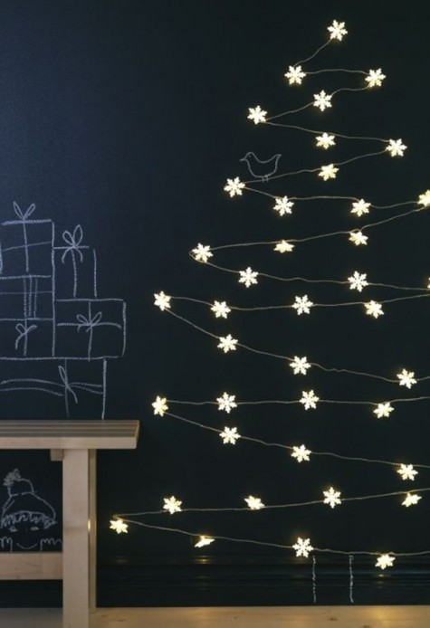 a unique Christmas tree made of IKEA light chain and some IKEA snowflake light chain decorations is easy to realize
