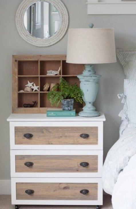 a Tarva hack with white framing and wood stain plus antique handles for a farmhouse or rustic space