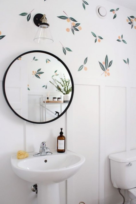 fun citrus printed wallpaper will enliven your small and neutral bathroom giving it a character