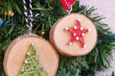 07 wood slice Christmas ornaments with string art decor, which is a hot trend right now