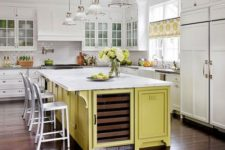 08 a modern farmhouse kitchen in white and a yellow kitchen island and yellow printed curtains for a touch of color