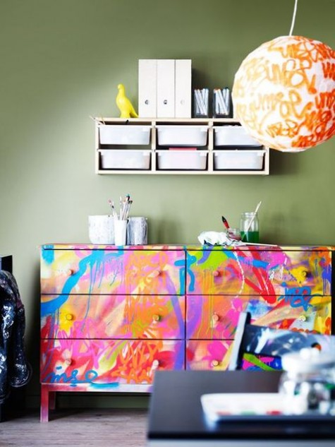 a bold handpainted watercolor double Tarva dresser is an ultimate idea for accenting a modern space