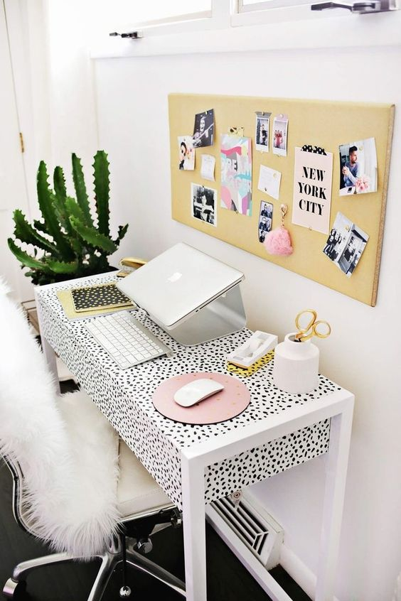a cool girlish workspace with a Dolmatin print desk, which you can easily DIY using some contact paper you like