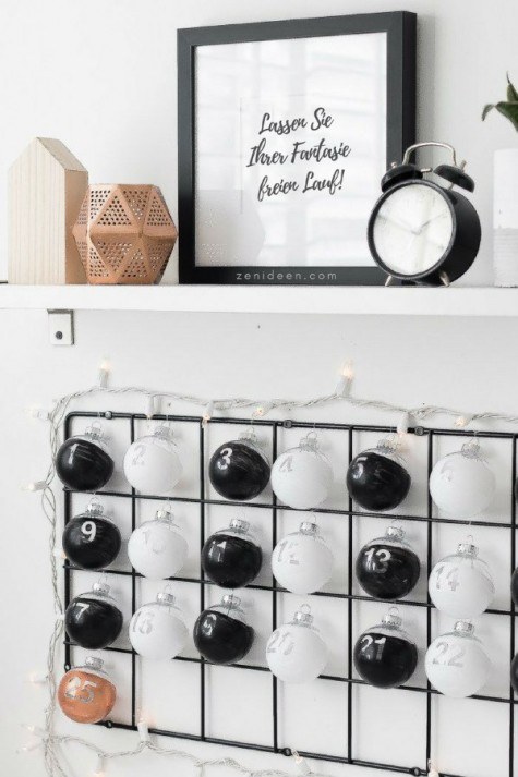 an IKEA trellis and some clear balls can be turned into a Scandinavian advent calendar is easy to make anytime