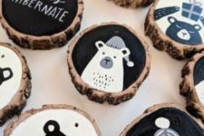 10 stylish modern black, grey and white Christmas wood slice ornaments with letters and bears look bold and chic