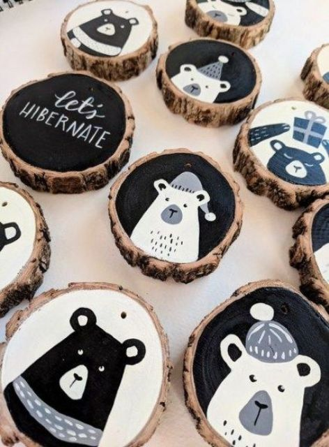 stylish modern black, grey and white Christmas wood slice ornaments with letters and bears look bold and chic
