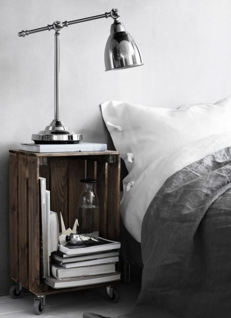 a stained Knagglig box placed on casters can be used as a cool bedside table for an industrial space