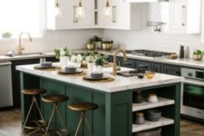 15 add color to your monochromatic black and white space with a dark green kitchen island and use matching countertops