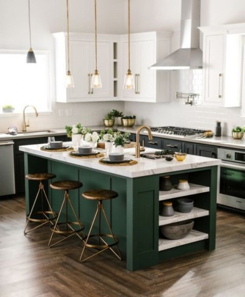 add color to your monochromatic black and white space with a dark green kitchen island and use matching countertops