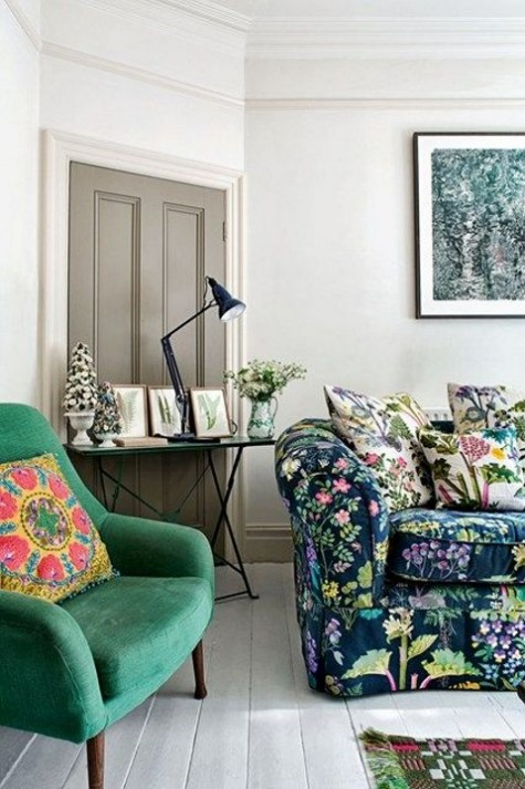 a super bright floral print sofa as the main print source and additional pillows here and there to add more interest