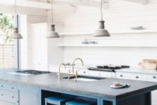 16 an oversized kitchen island in blue is a great idea to add color to such a pure white space, and dark grey countertop creates even more contrast