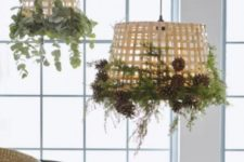 17 GADDIS baskets decorated with greenery, pinecones and other natural elements plus bulbs to make cool lamp