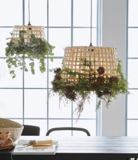 GADDIS baskets decorated with greenery, pinecones and other natural elements plus bulbs to make cool lamp