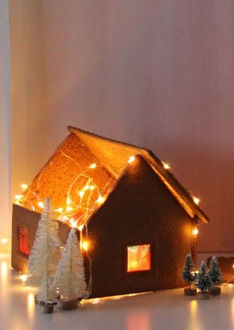 IKEA Gingerbread House Kit styled with LEDs and hard candies is a pretty decoration that can be eaten afterwards