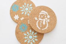 20 IKEA HEAT trivets stenciled in holiday style can be given as gifts or can be used at your own home to spruce it up for winter