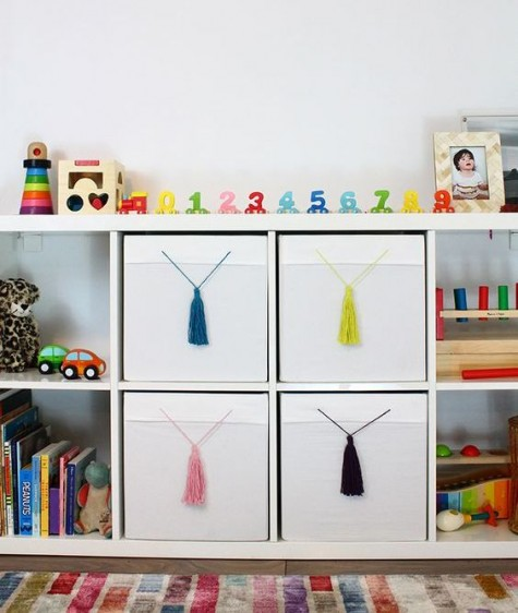 a simple IKEA Hack – add tassels to your plain drona boxes to give them a colourful pop and flair