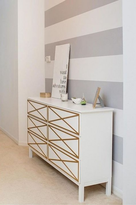 a white double Tarva dresser with gold geo touches is a classic and refined idea for a chic look