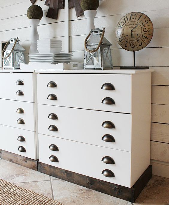 a white IKEA Tarva hack with sleek panels and vintage handles looks chic and will fit a farmhouse space