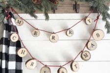 23 a wood slice letter garland is a great rustic decoration for indoors and outdoors, for Christmas trees and other pieces