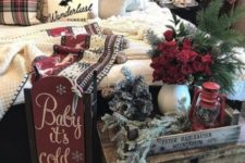 23 vintage Christmas bedroom decor with snowy evergreens, red roses, a vintage sleigh and cozy knit and crochet blankets