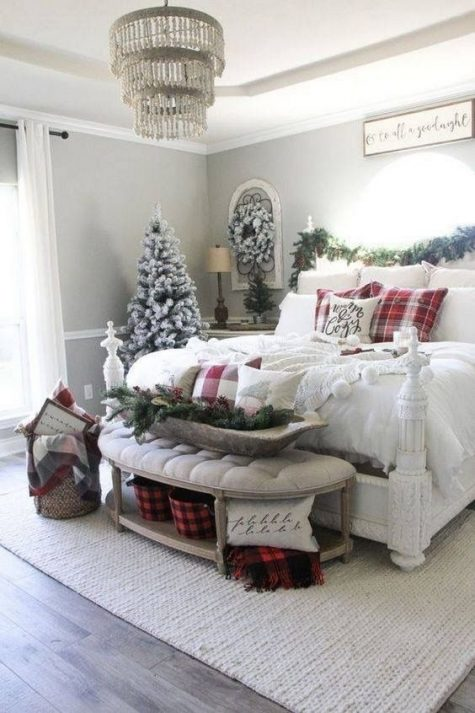 a chic farmhouse Christmas bedroom with snowy evergreens, pinecones, lots of plaid and knit