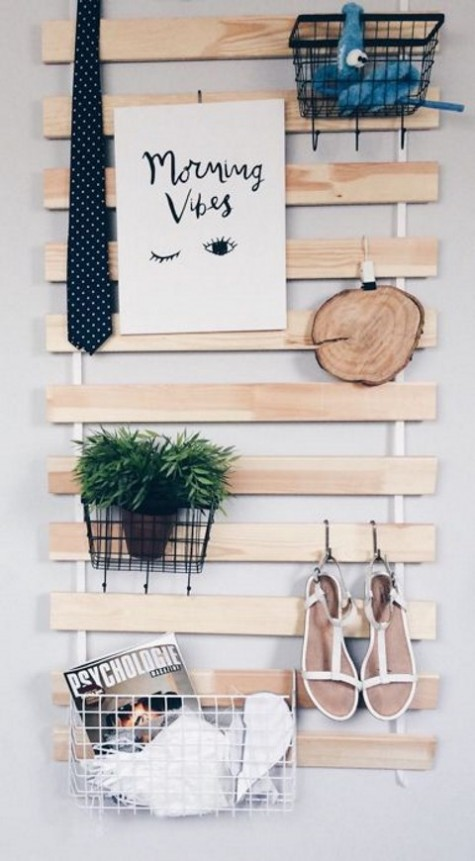 an IKEA Luroy hack for any space – just add metal wire baskets and hooks and voila
