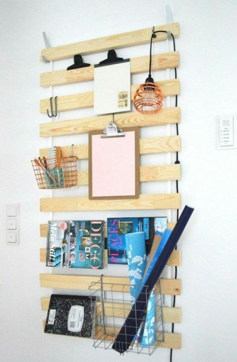 an IKEA bed slat hack with metal baskets, a pendant lamp and even magazines put on the rack