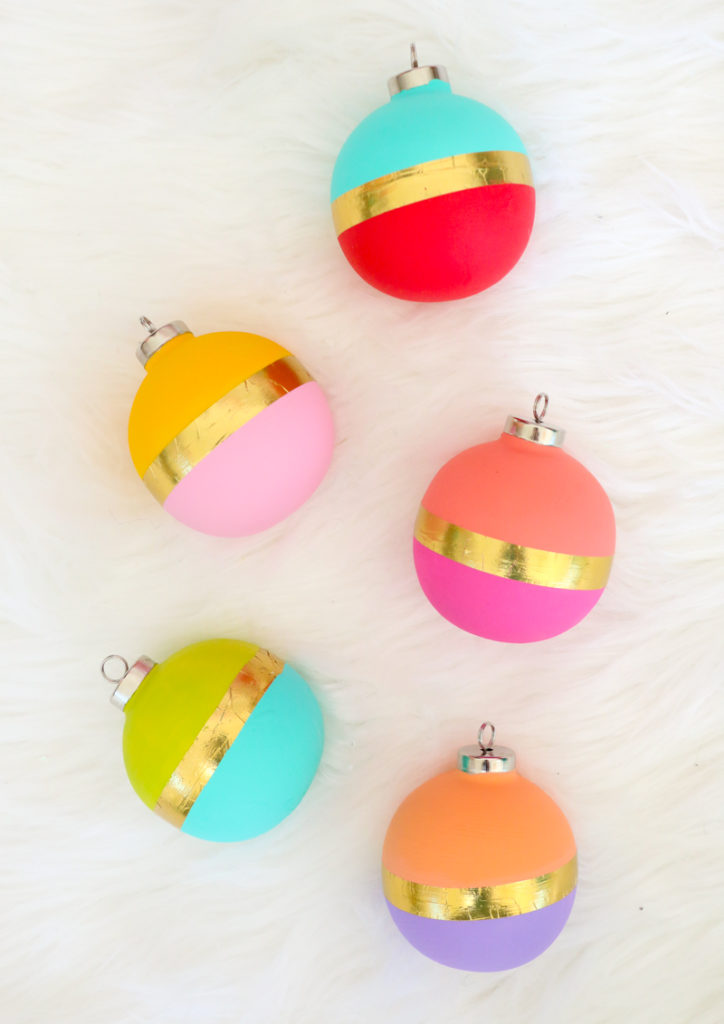 DIY bright color block Christmas ornaments with gold tape (via akailochiclife.com)