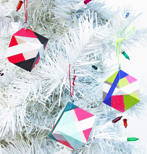 DIY color block Christmas ornaments with bright tape (via babbledabbledo.com)