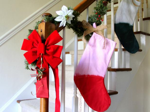 DIY dip-dye color block Christmas ornaments (via www.diynetwork.com)