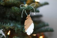 DIY boho leather feather Christmas ornament
